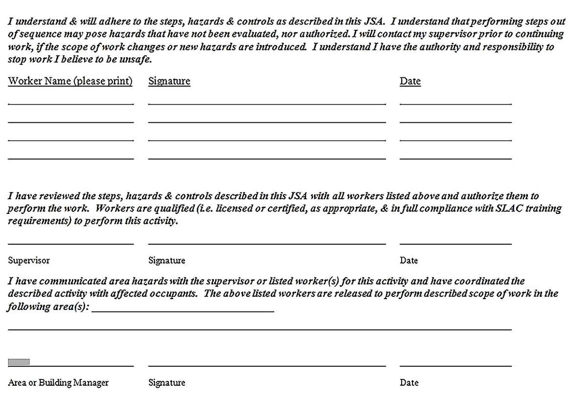 Templates for Generic Job Safety Analysis Form 2 Sample
