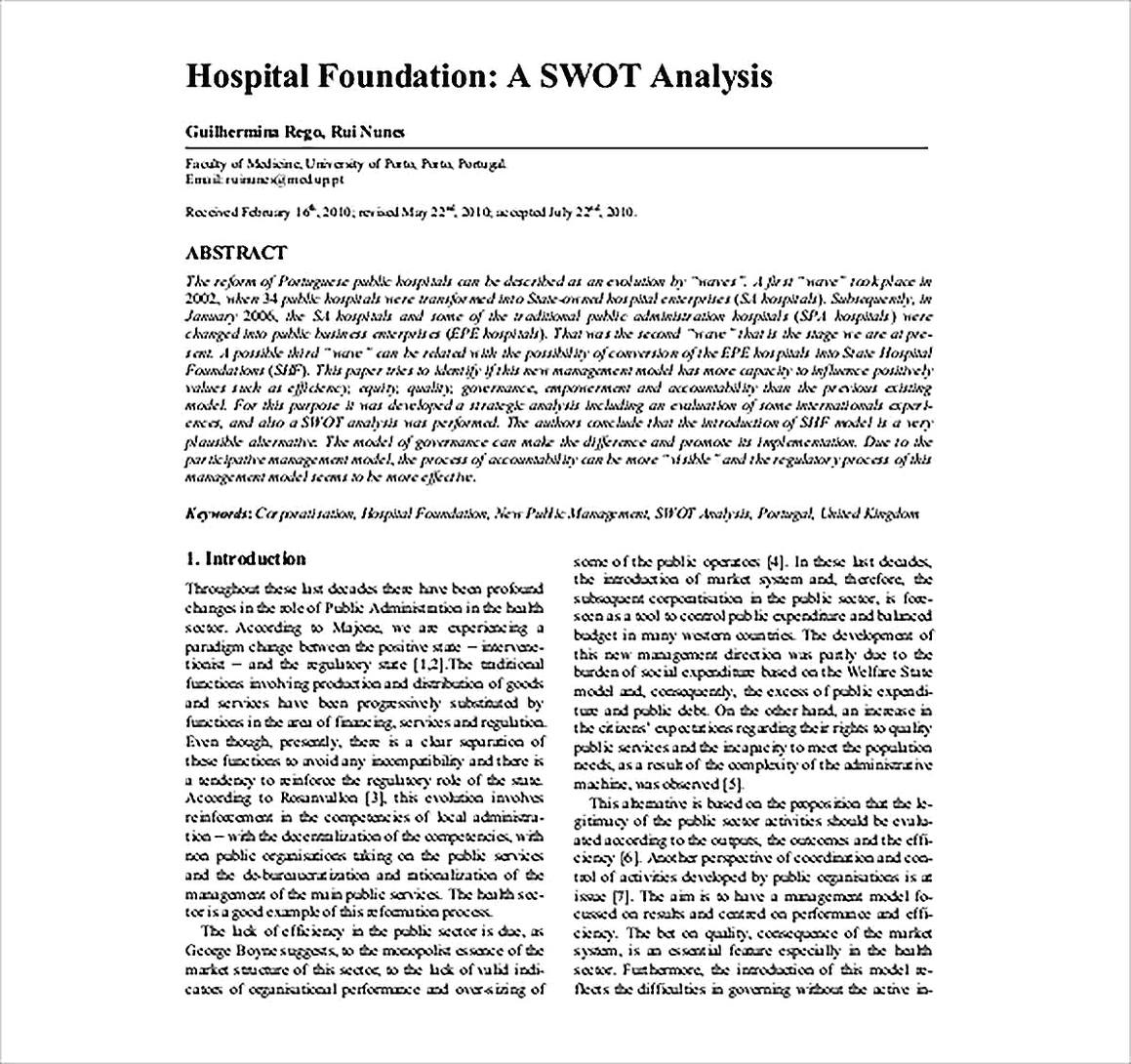 Templates for Hospital Foundation A SWOT Analysis Sample
