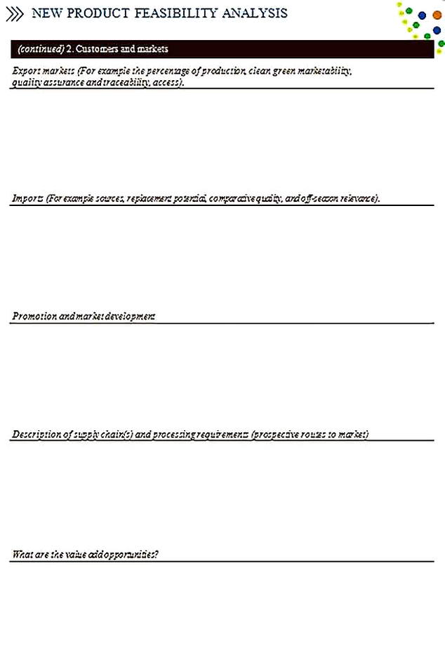 Templates for Product Feasibility Analysis 4 Sample