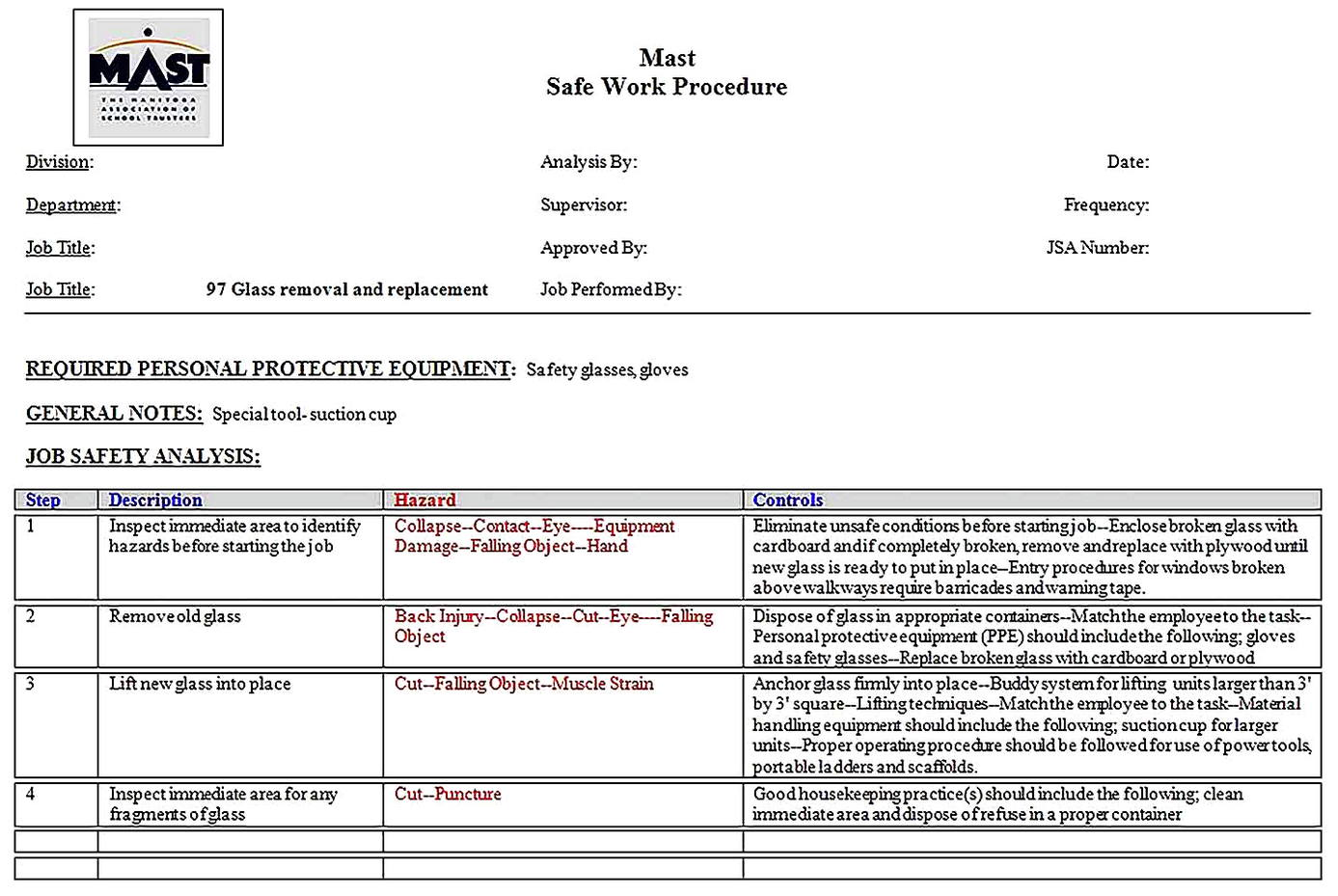 Templates for job Safety Analysis For School Sample