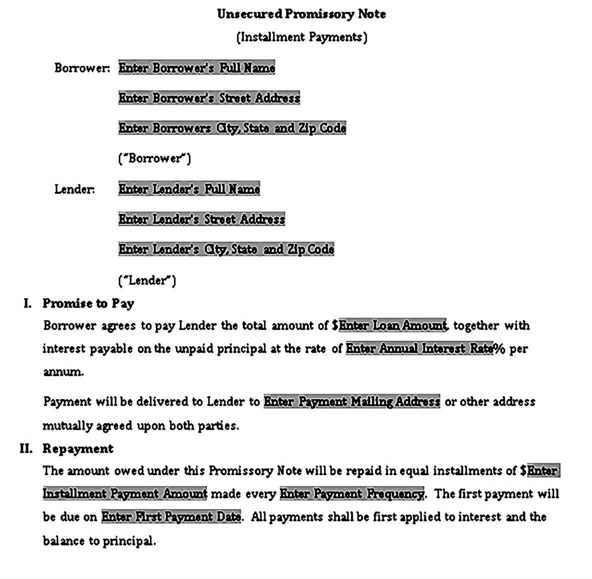suze orman secured promissory note