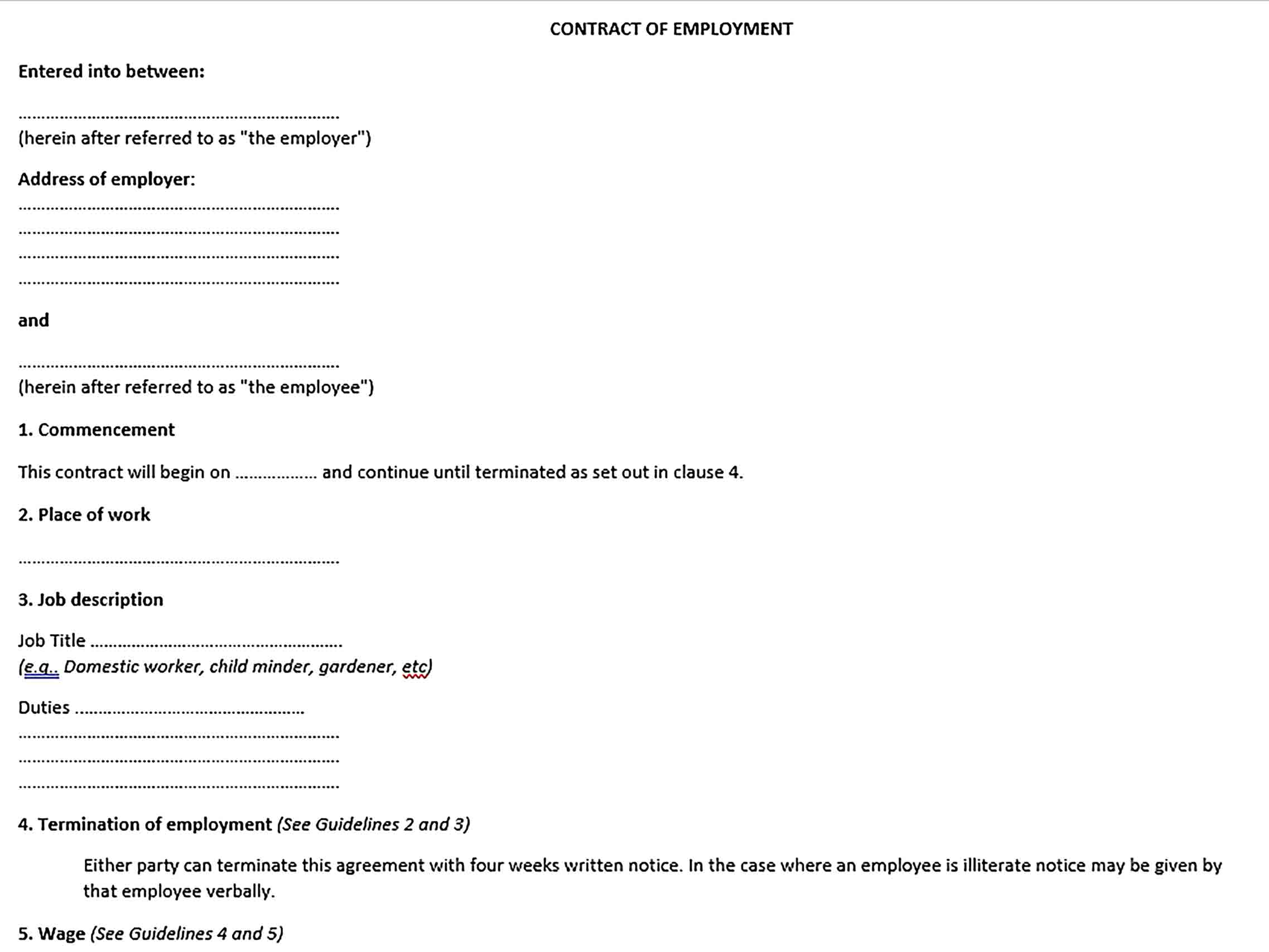 Sample Agreement Between Employer and Employee Agreement