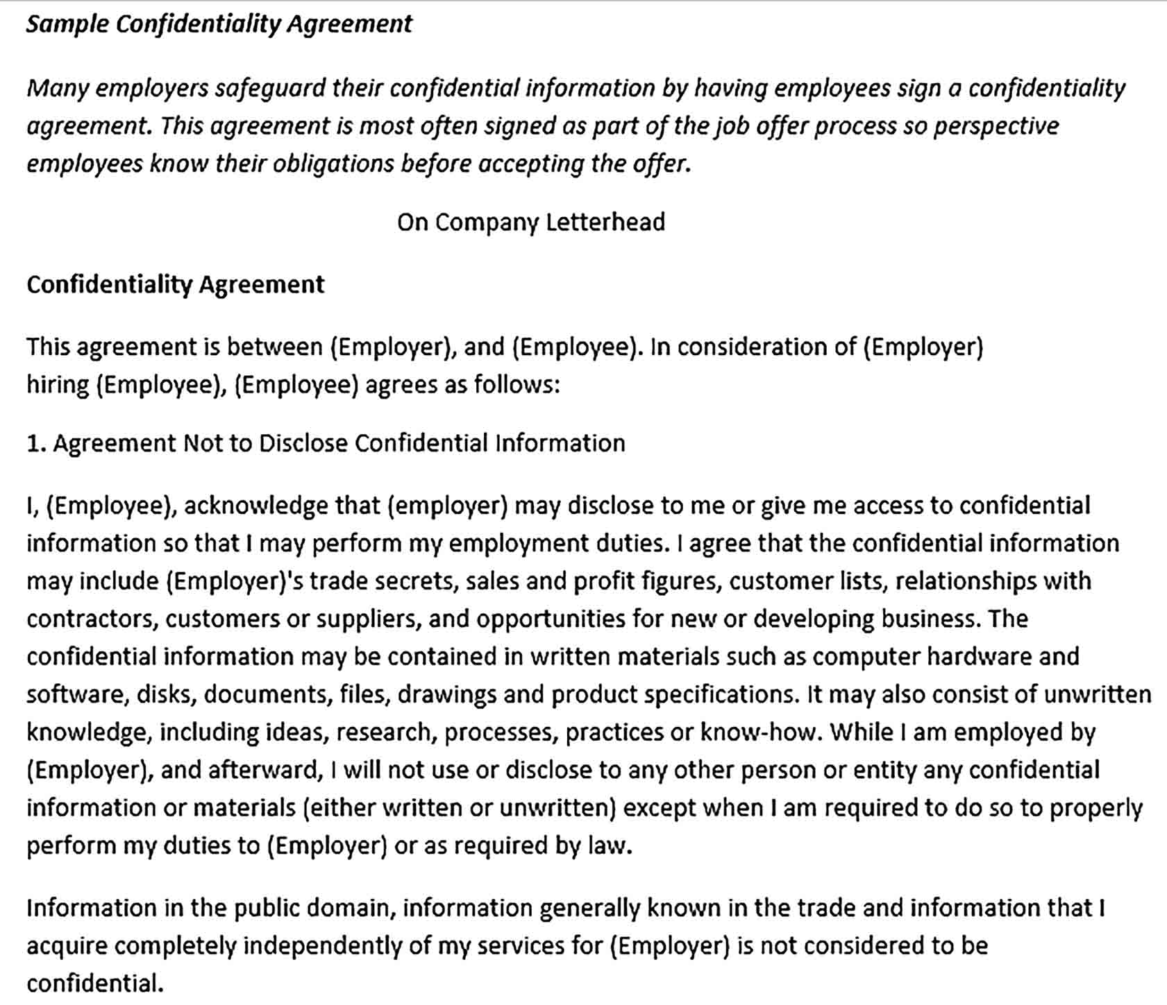 Sample Confidentiality Agreement