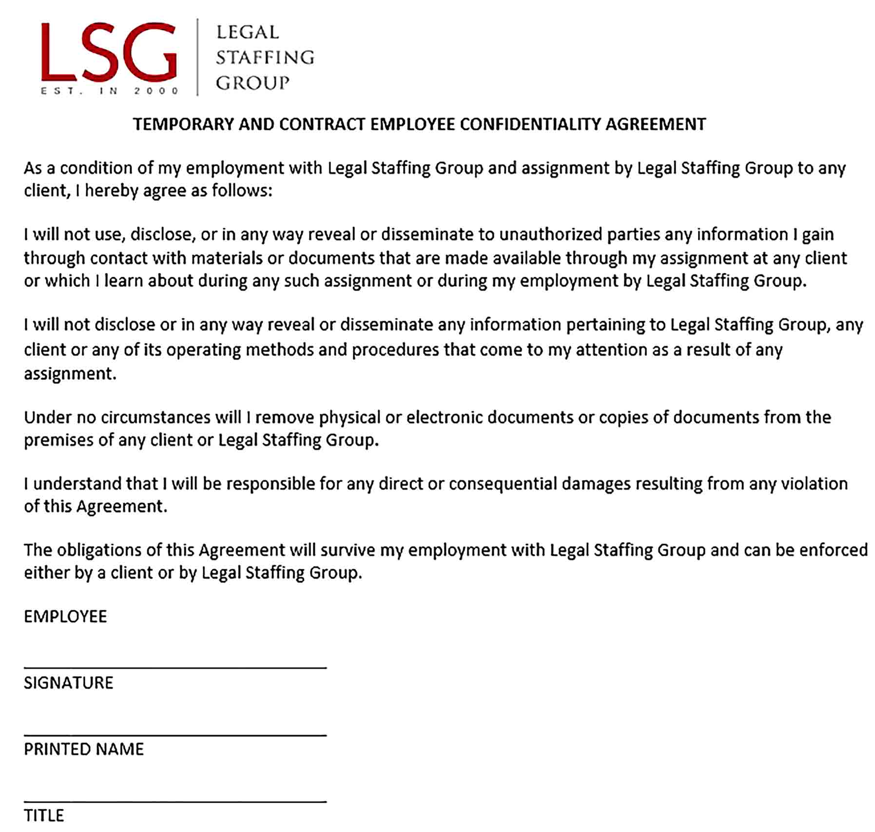 Sample Contract Employee Confidentiality Agreement