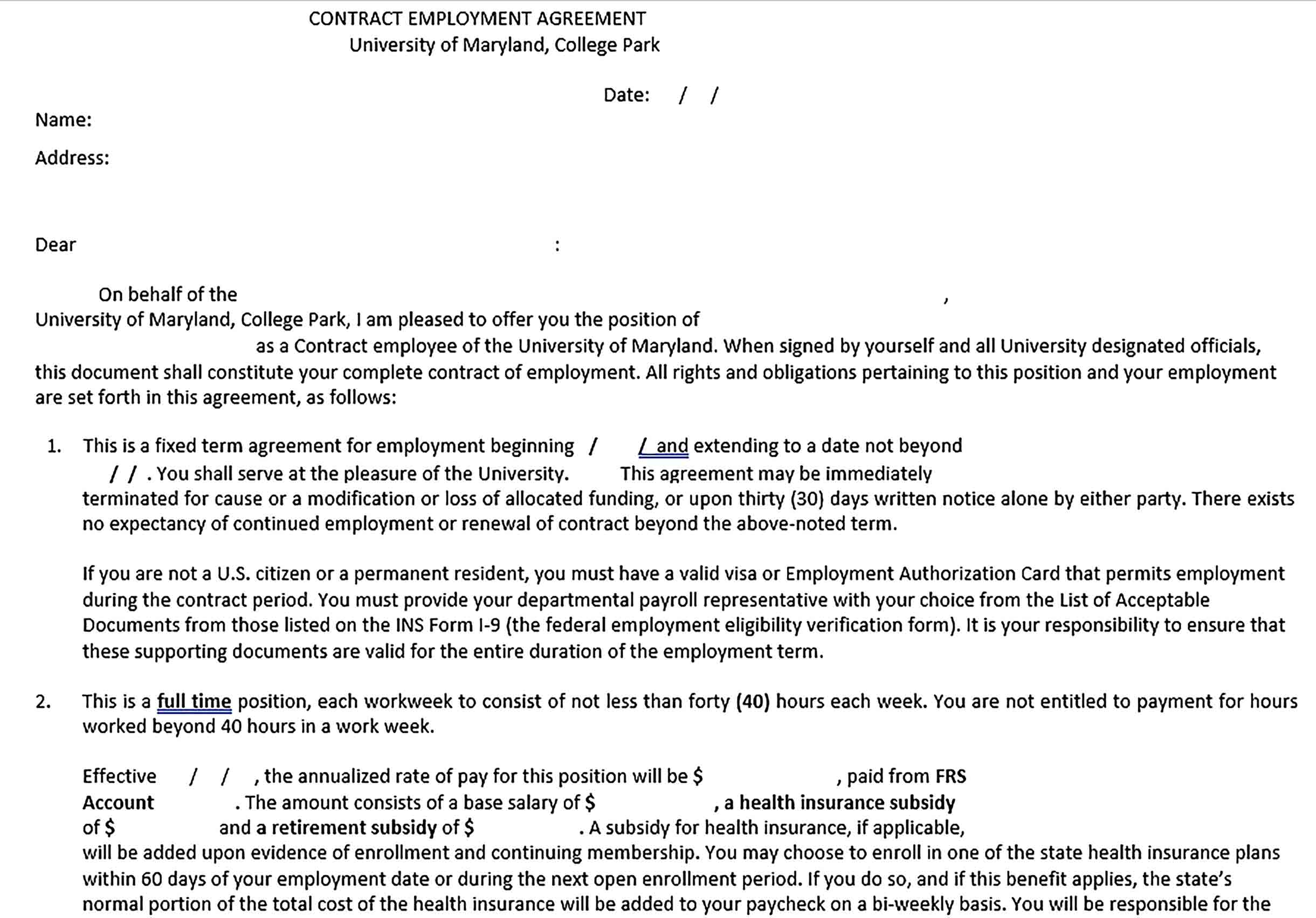Sample Contract Employement Agreement