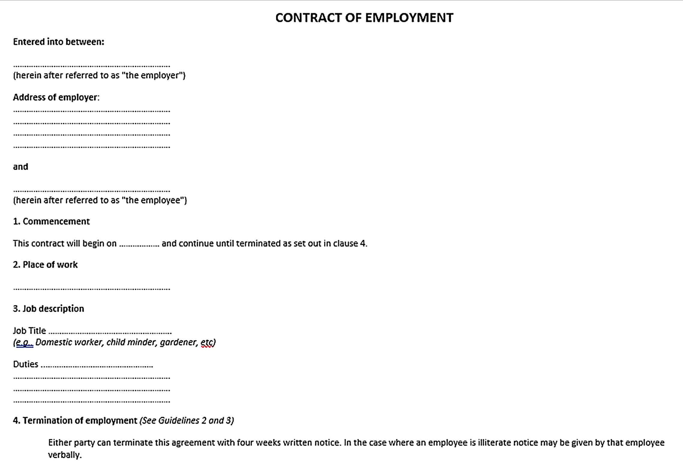 Sample Contract Of Employment Agreement Document
