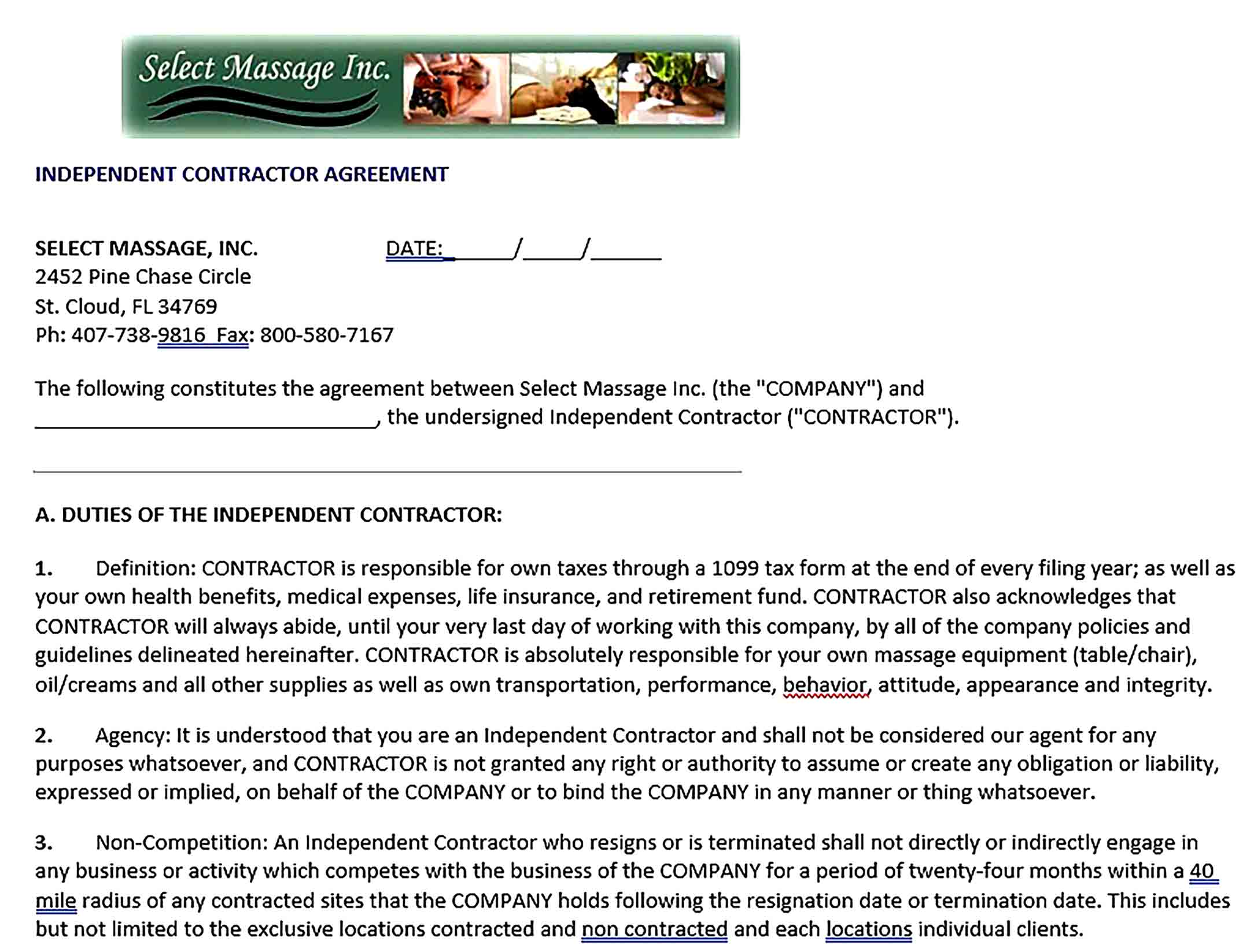 Sample Contractor Non Compete Agreement
