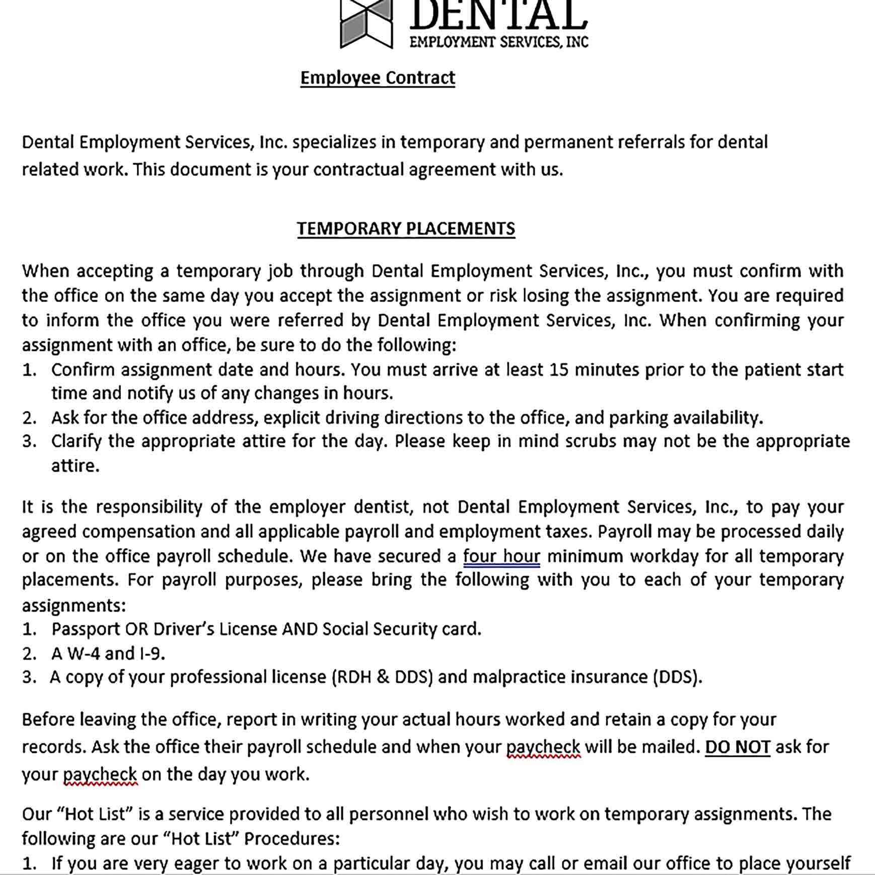 Sample Dental Employee Contract Agreement