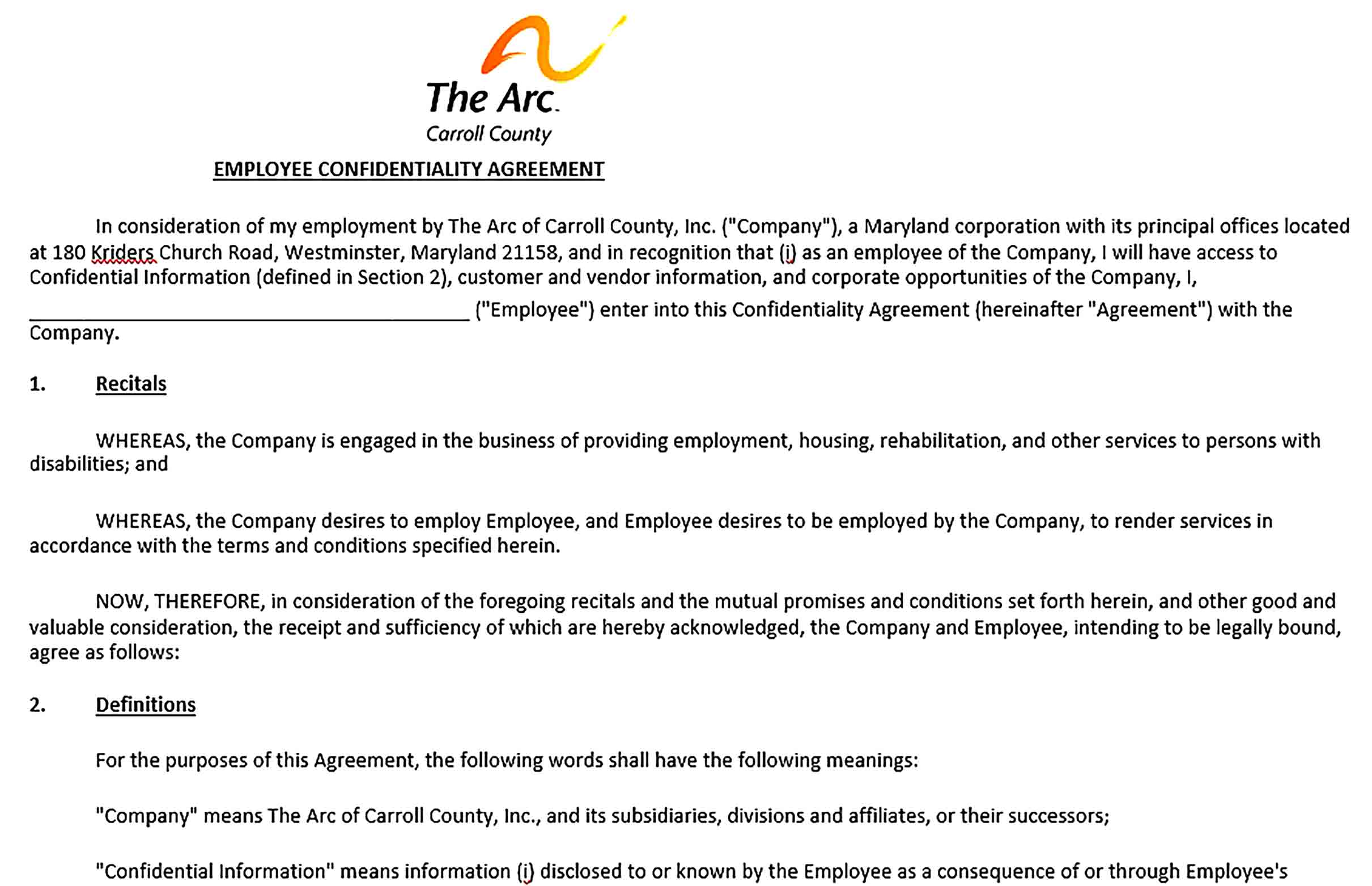 Sample Employee Confidentiality Agreement 002
