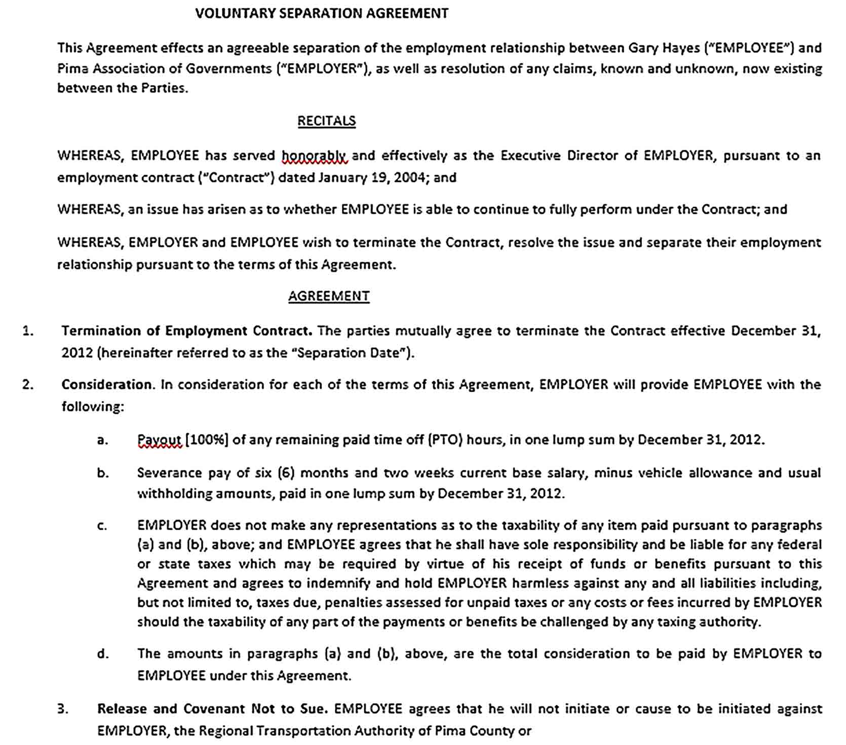 Sample Employment Mutual Separation Agreement
