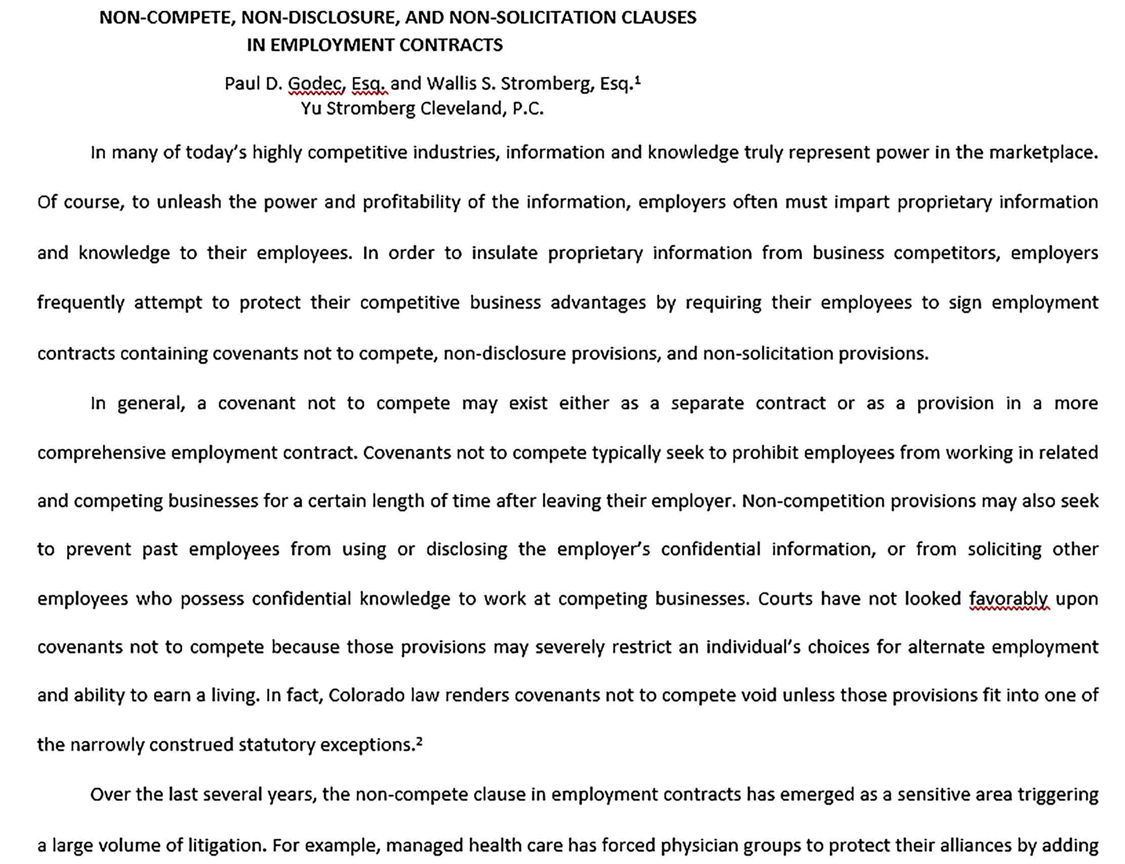 Sample Employment Non Compete Agreement