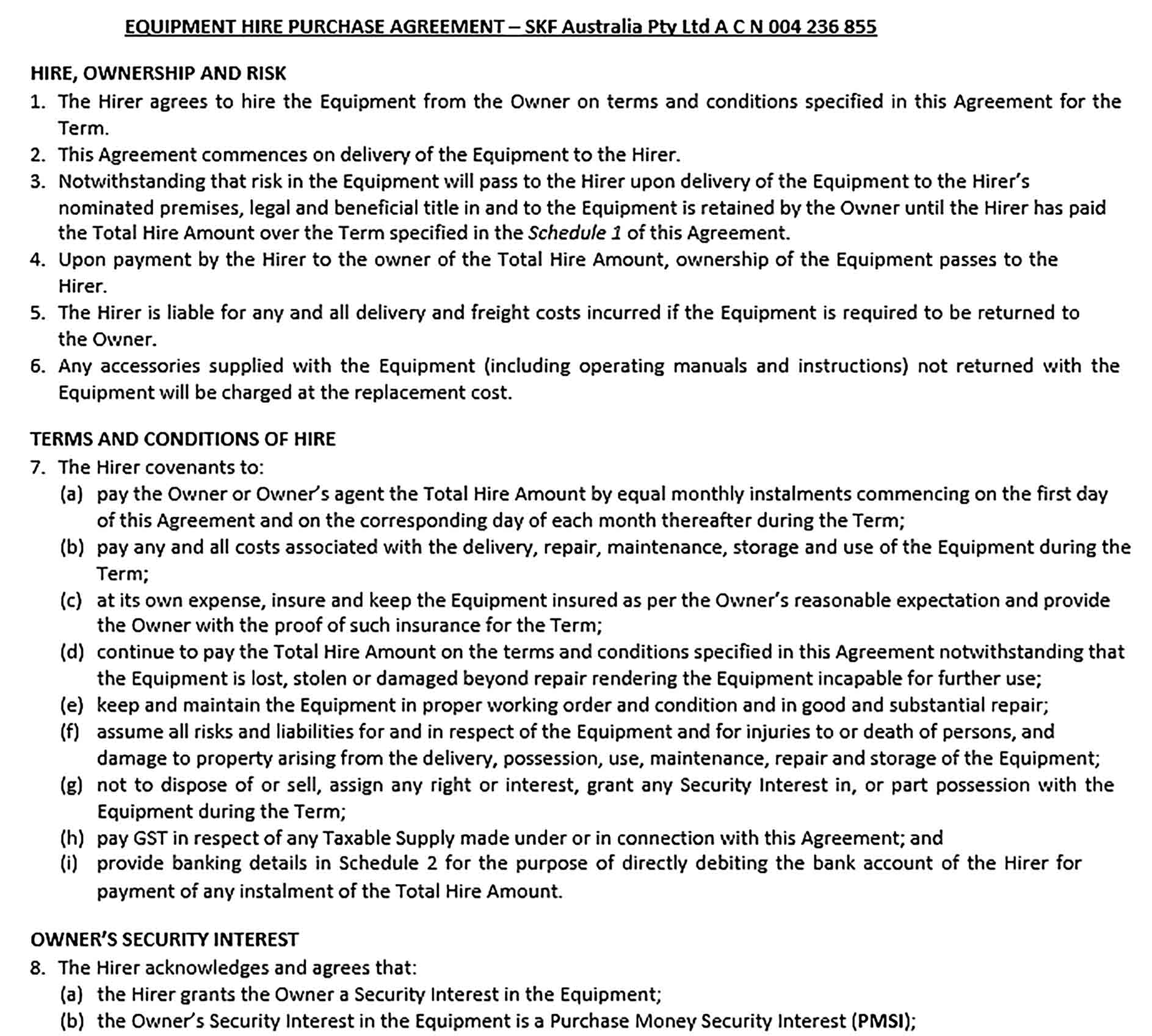 Sample Equipment Hire Purchase Agreement