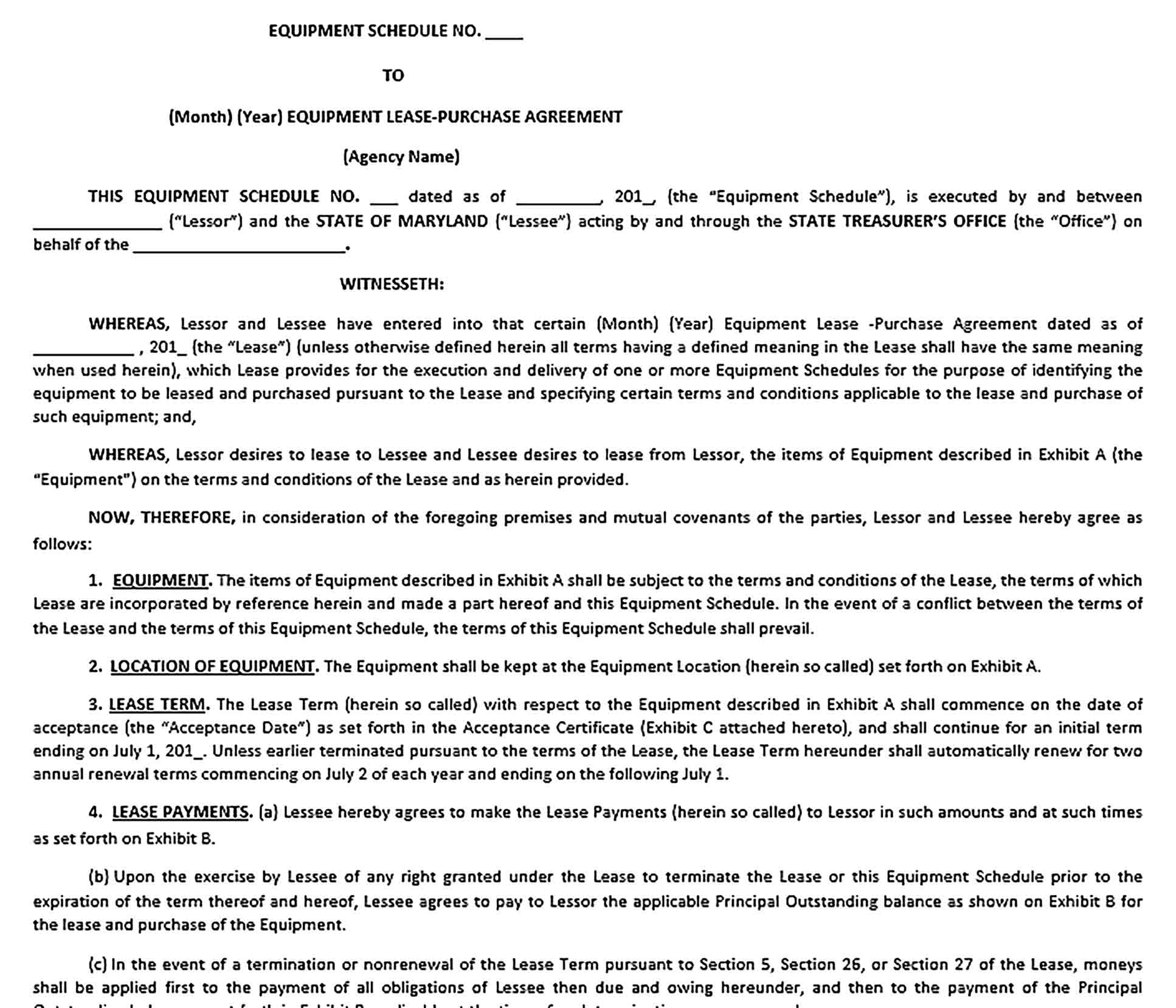 Sample Equipment Lease Purchase Agreement