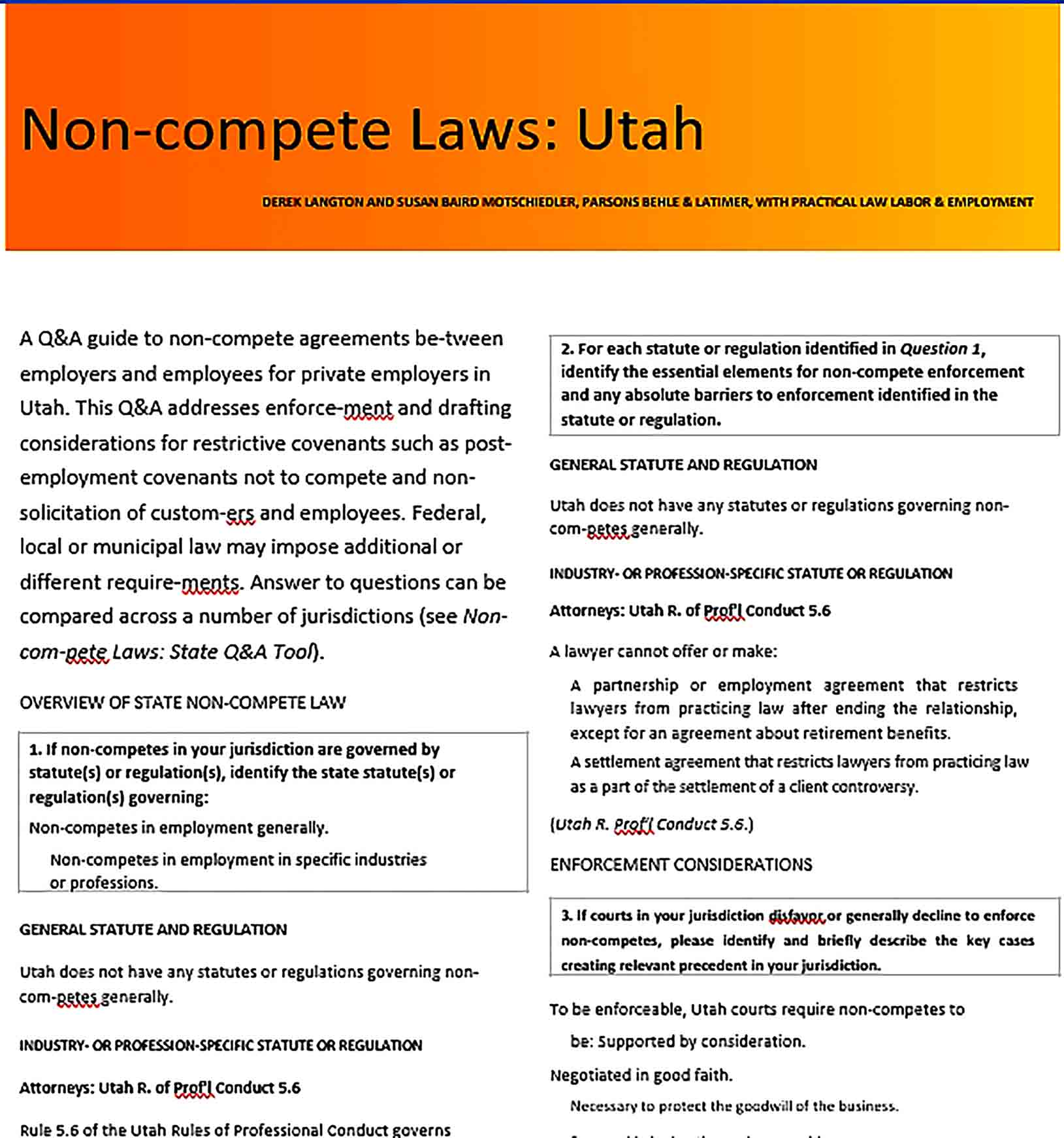 Sample Non Compete Agreement Laws