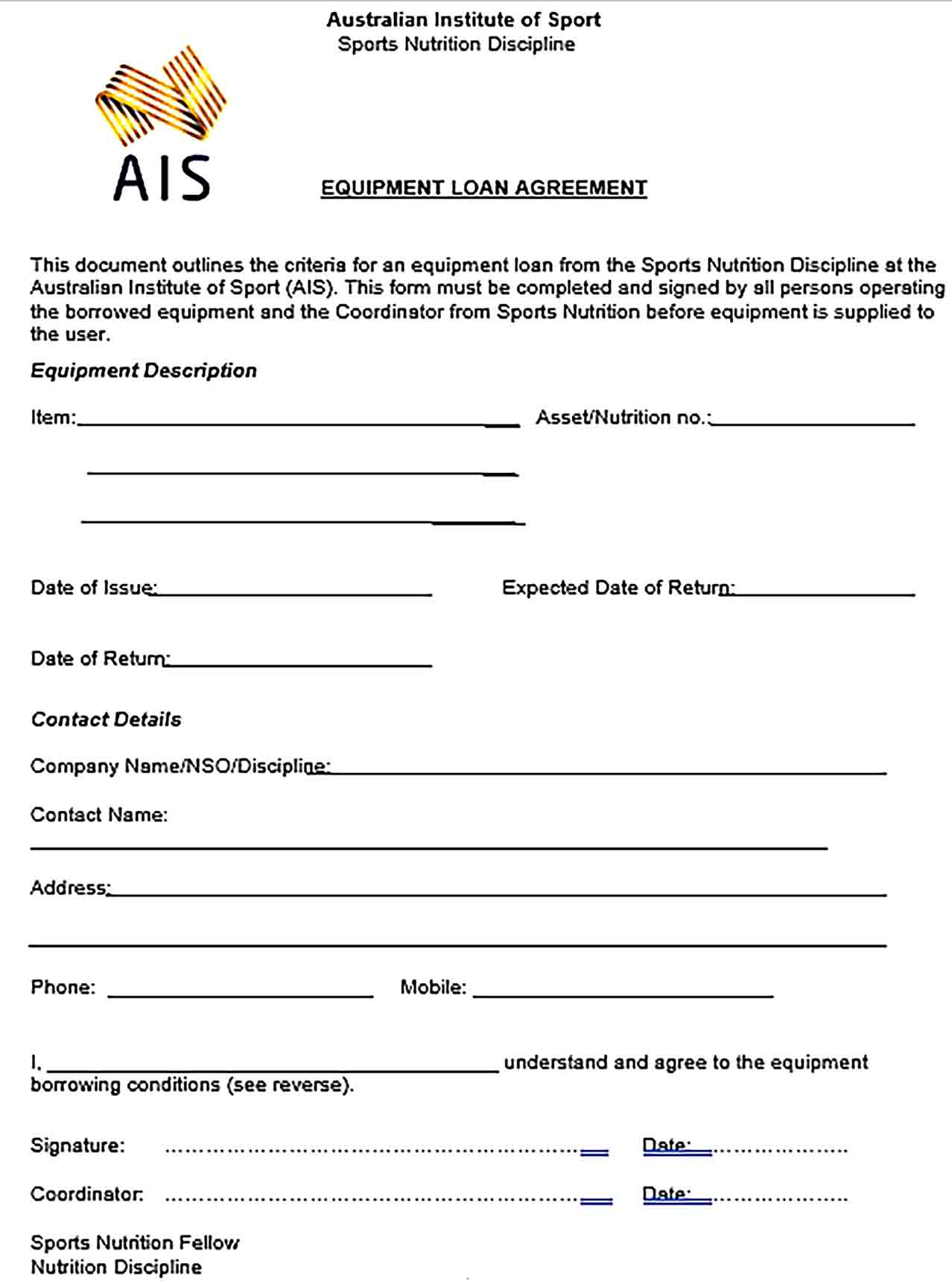 Sample Sports Nutrition Equipment Loan Agreement