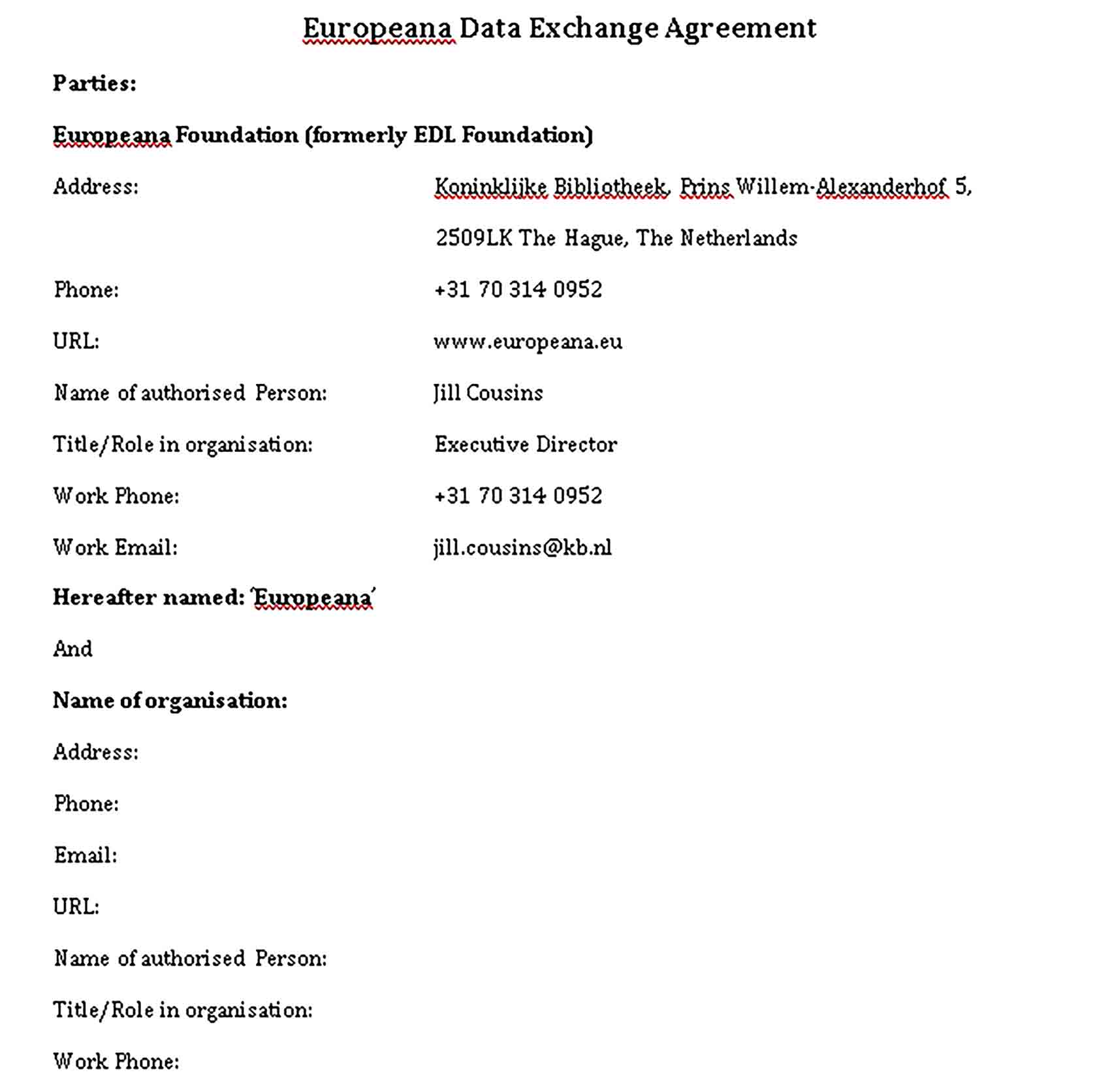 Templates Data Exchange Agreement Sample