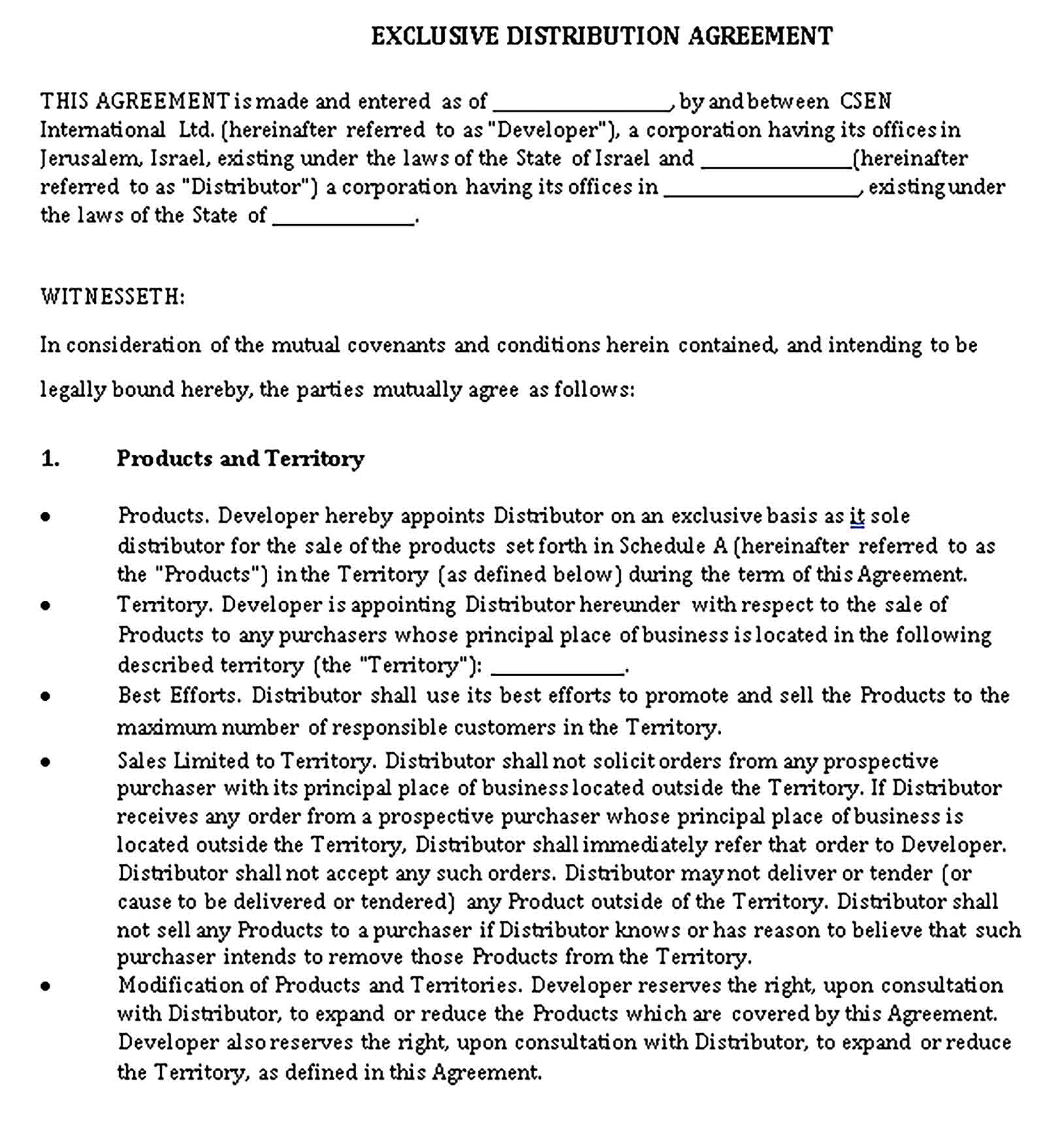 Templates Exclusive Distribution Agreement Sample