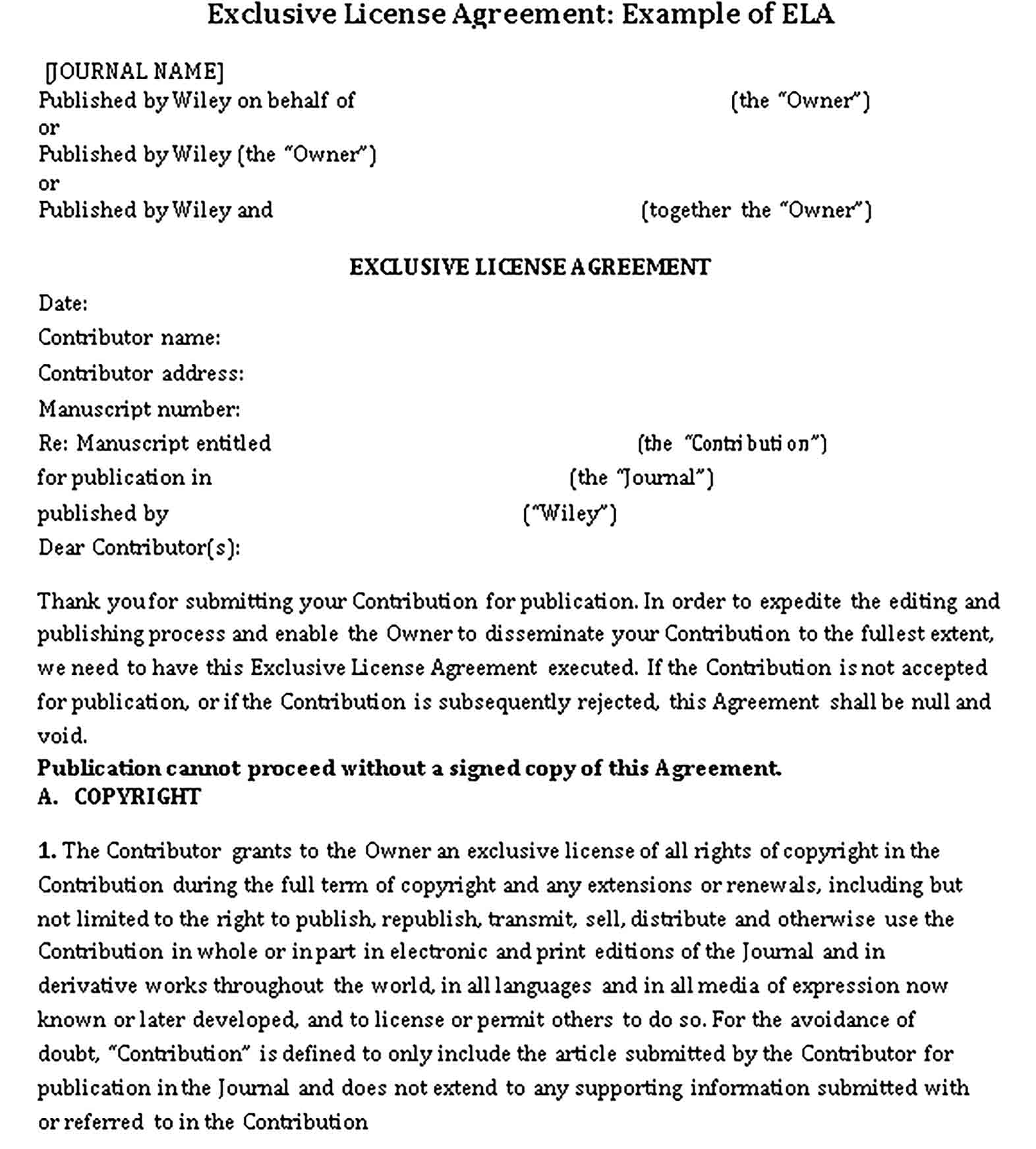 Templates Exclusive License Agreement Sample