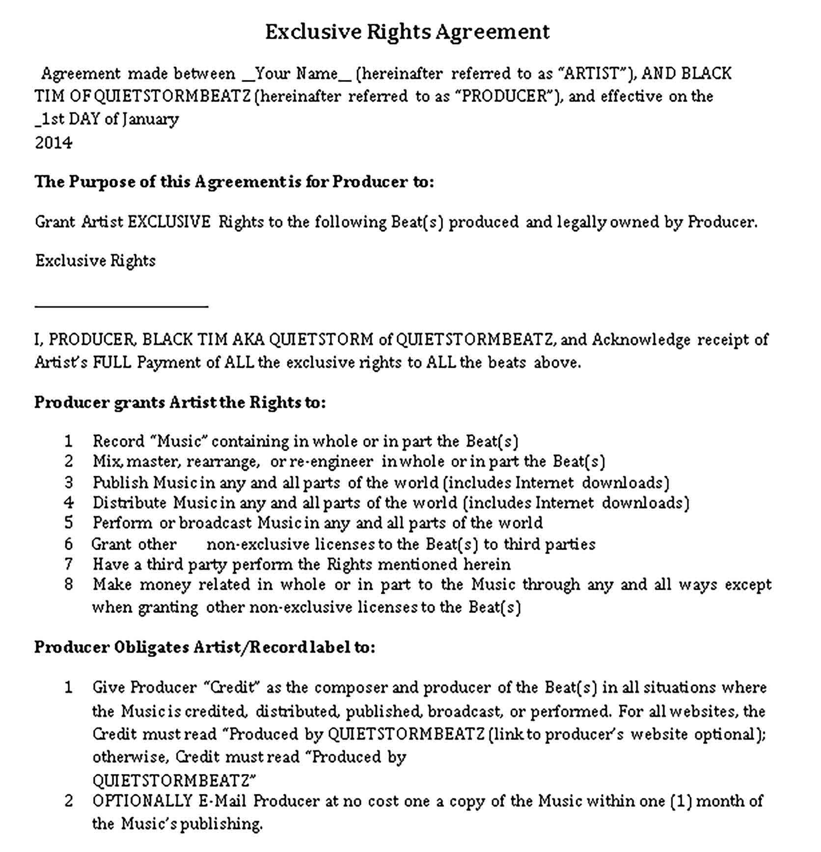 Templates Exclusive Rights Agreement Sample