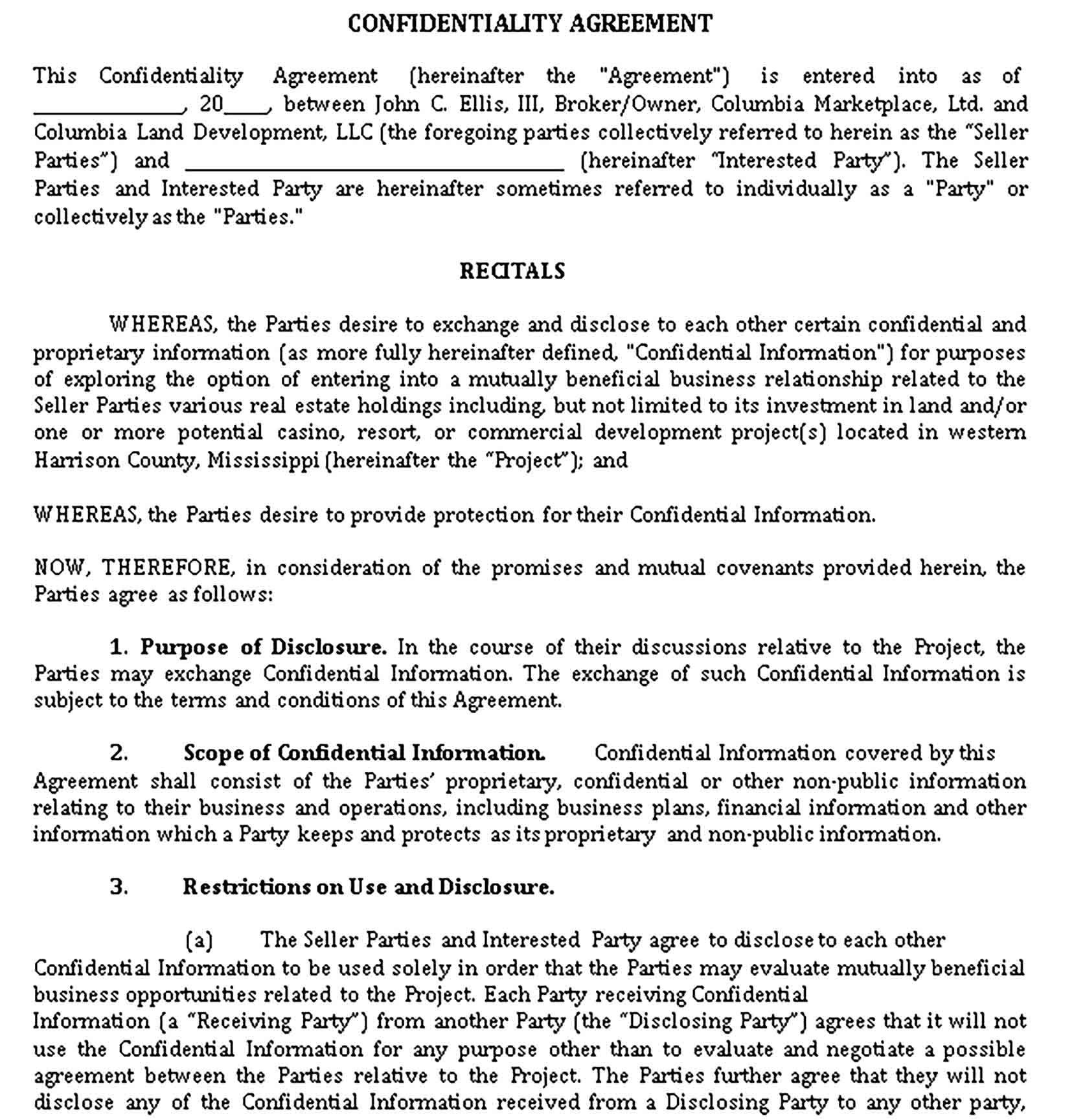Templates Exclusivity and Confidentiality Agreement Sample