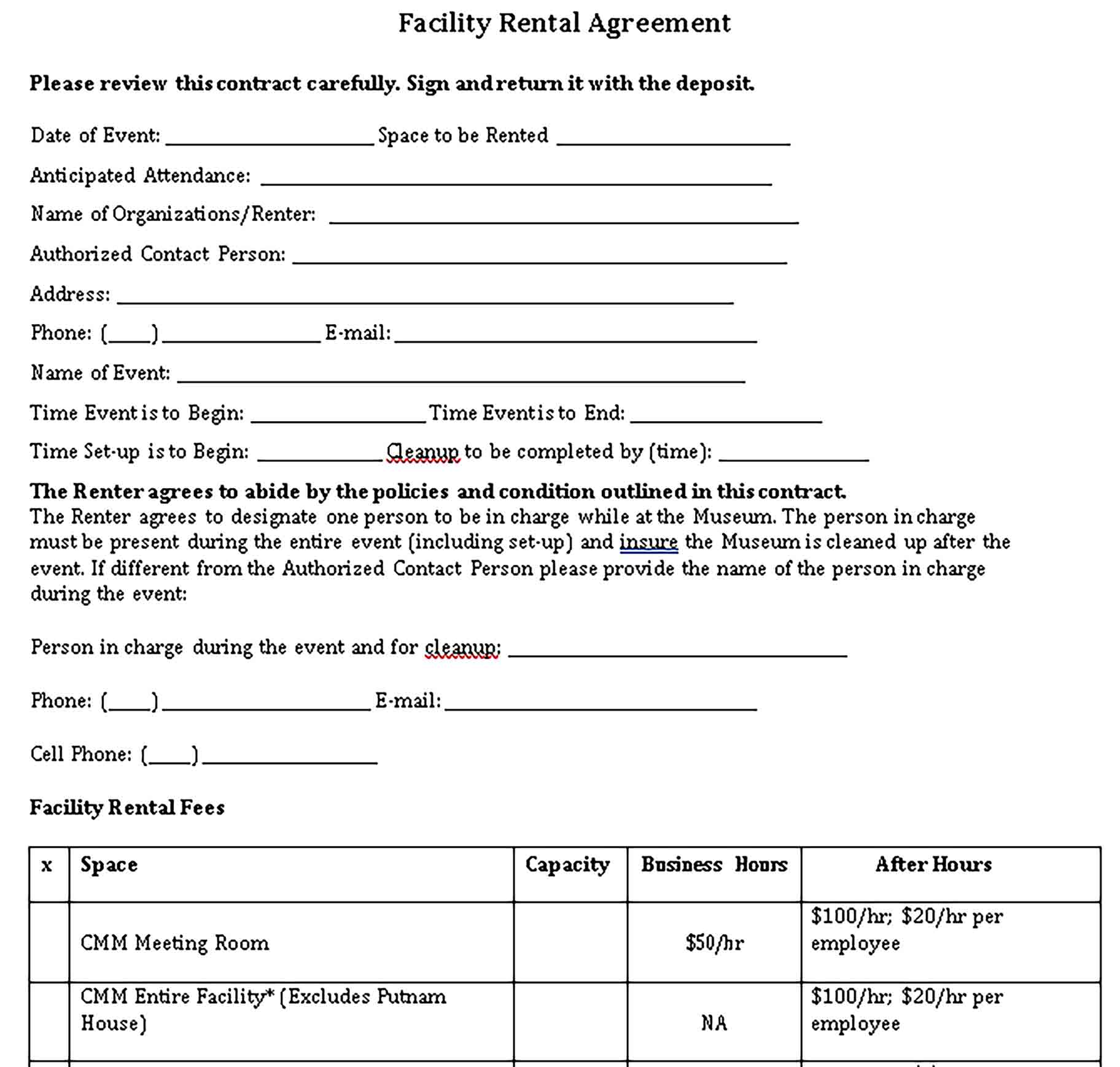 Templates Facility Rental Agreement Form Sample
