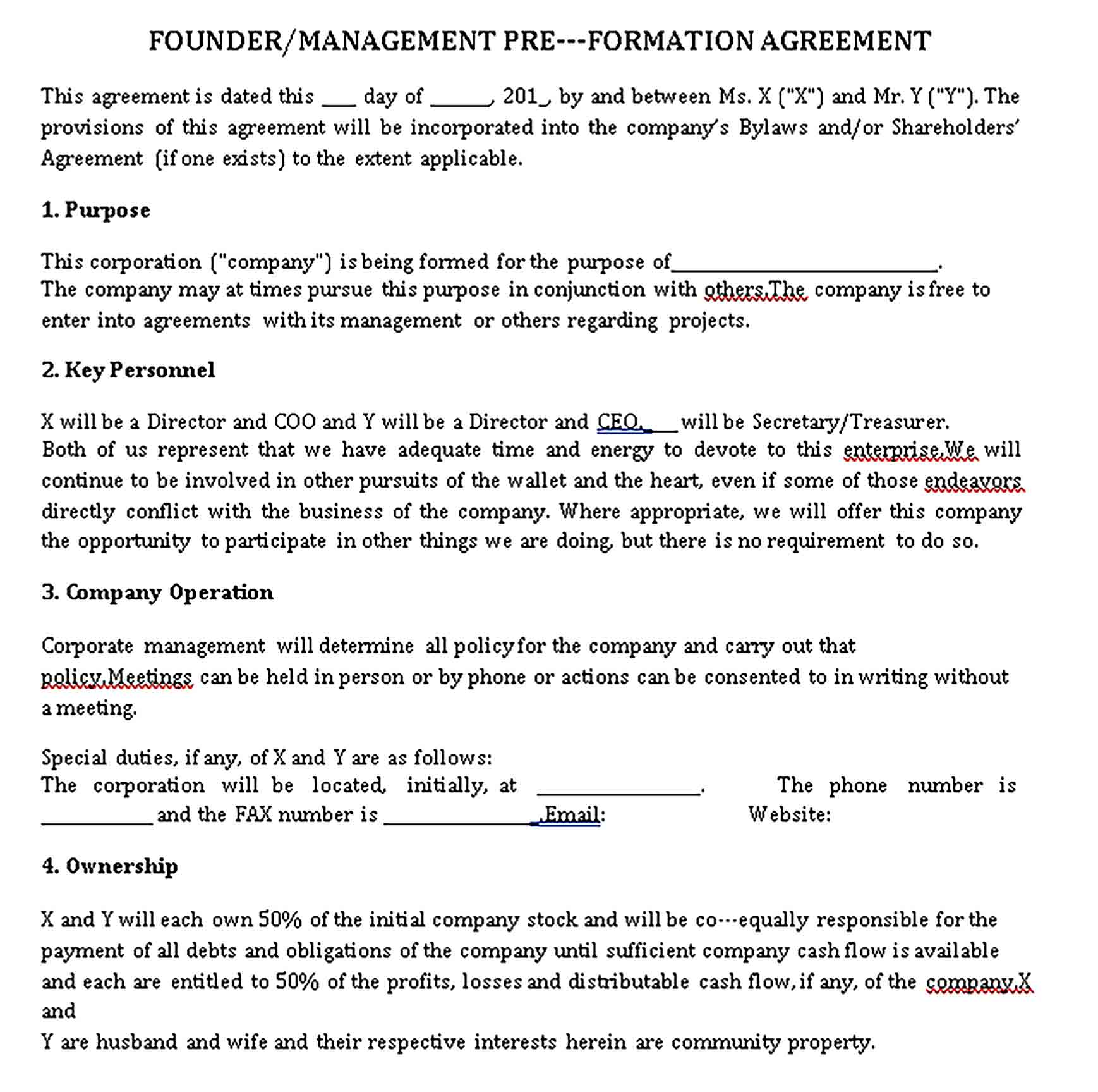 Templates Pre Formation Agreement Sample
