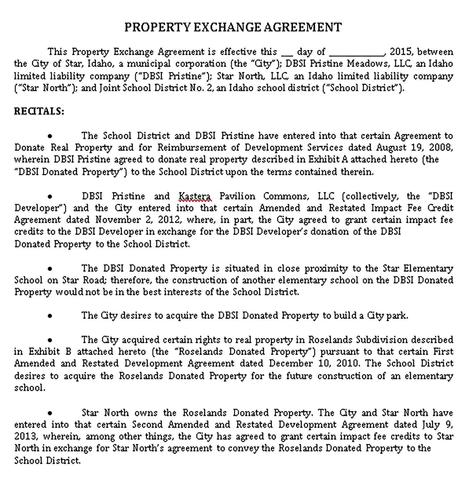 Templates Property Agreement Sample