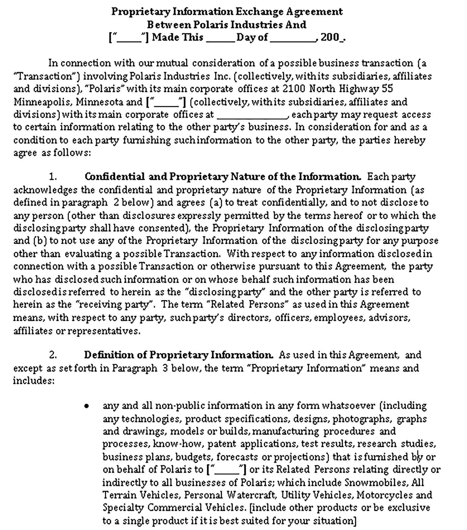 Templates Proprietary Information Exchange Agreement Sample