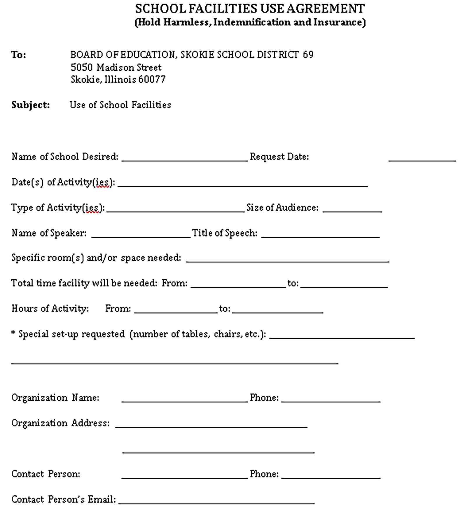 Templates School Facility Agreement Sample
