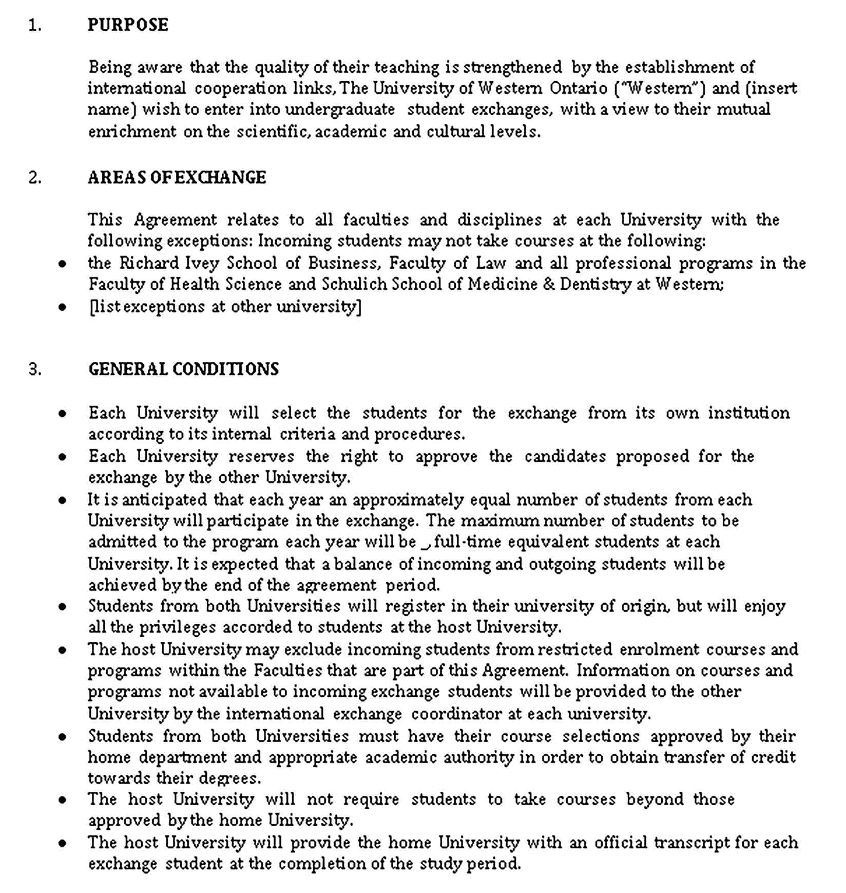 Templates Student Exchange Agreement Sample