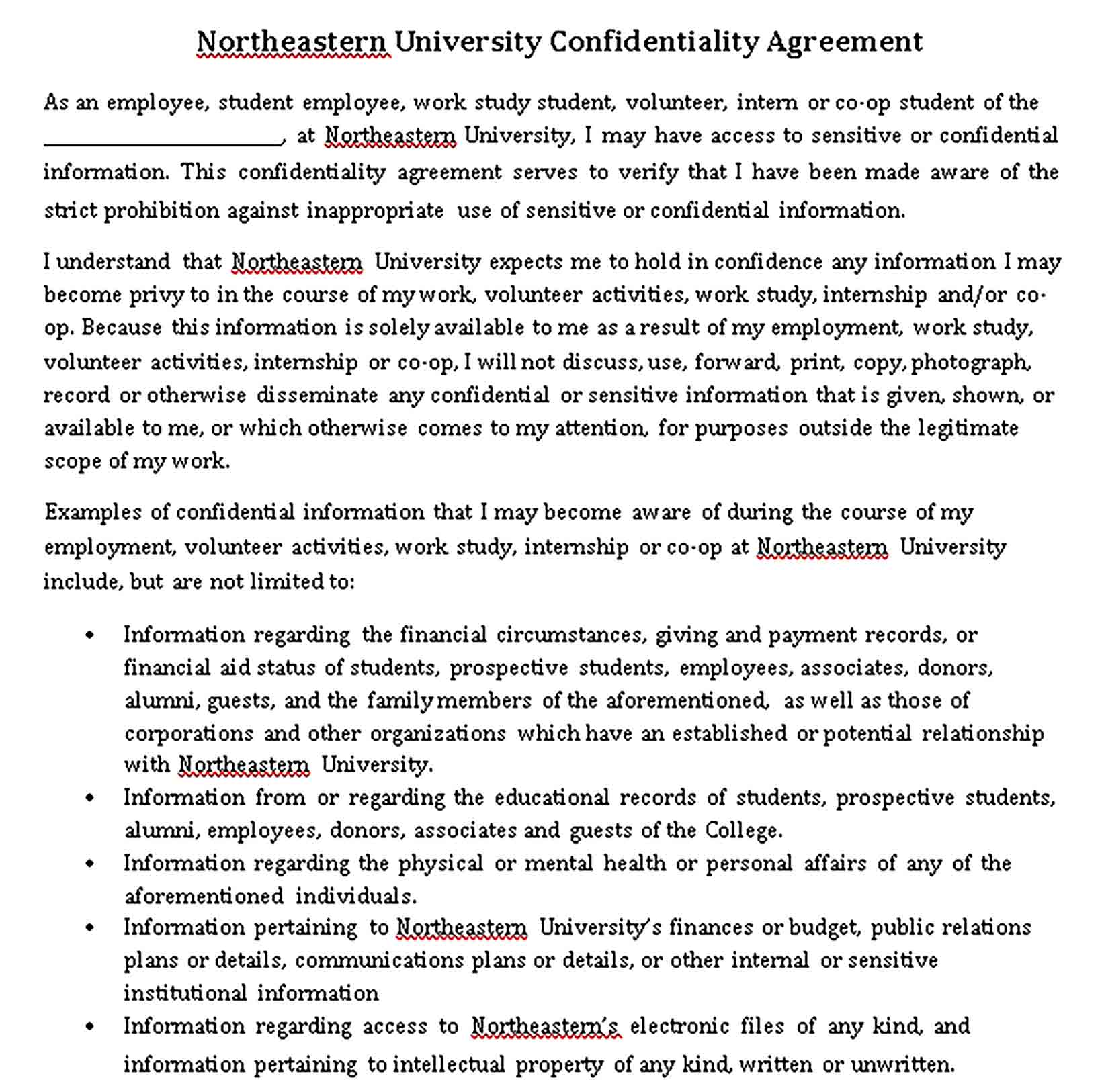 Templates Student Financial Confidentiality Agreement Sample