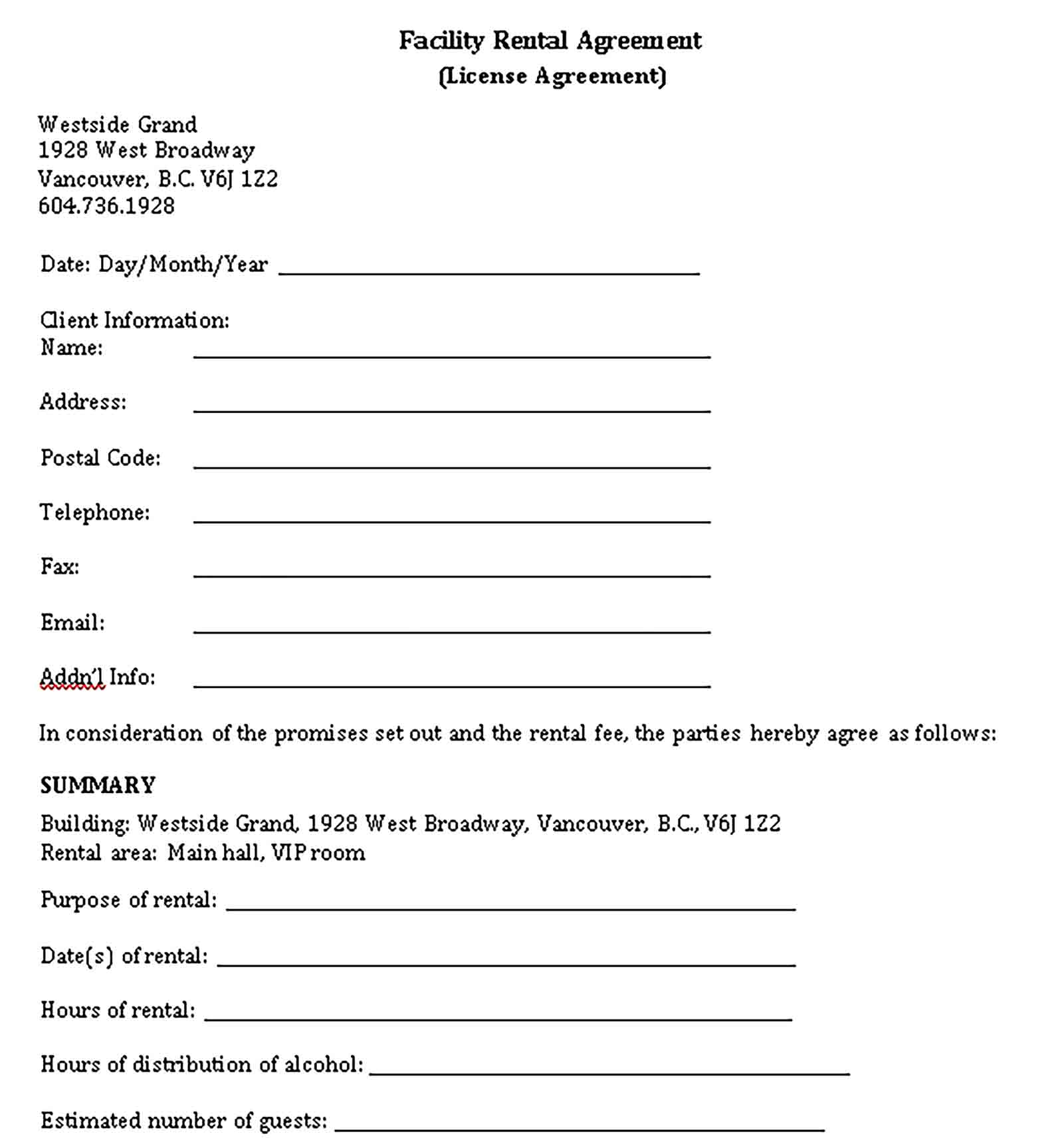 Templates facility rental agreement Sample 002