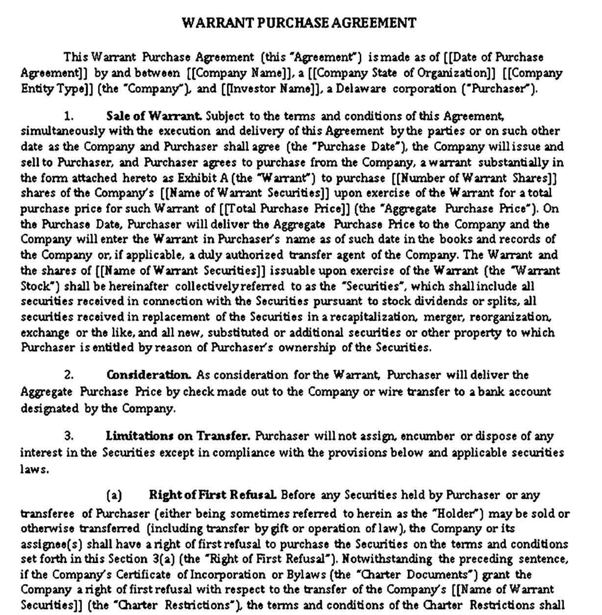 Warrant Purchase Agreement