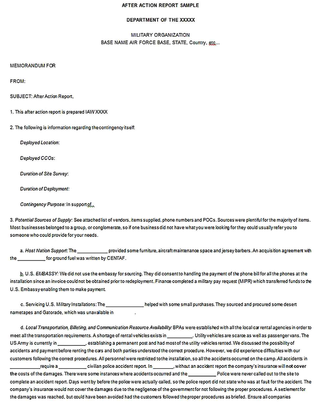 Sample After Action Police Report Template