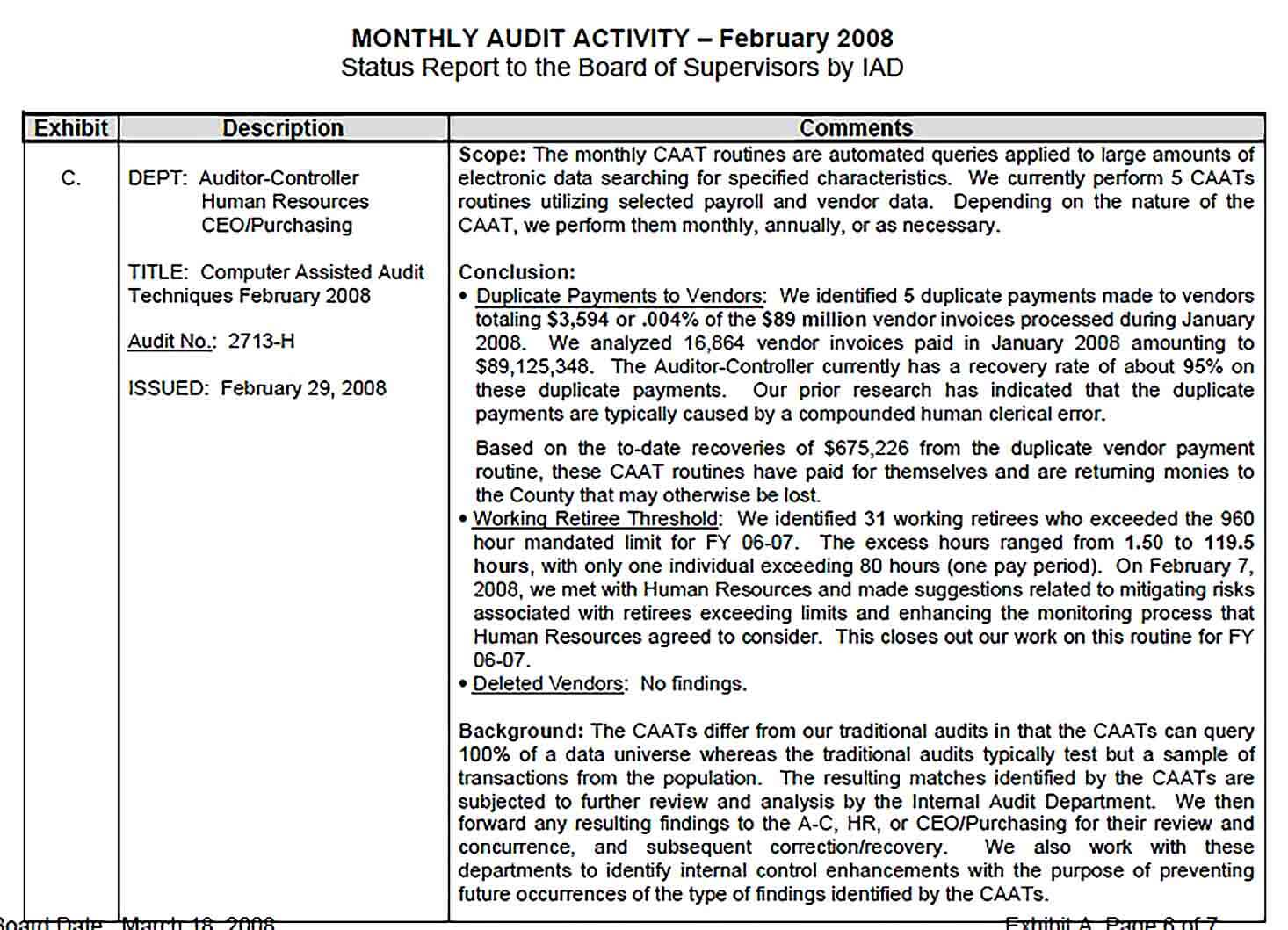 Sample Feb Monthly Audit Report