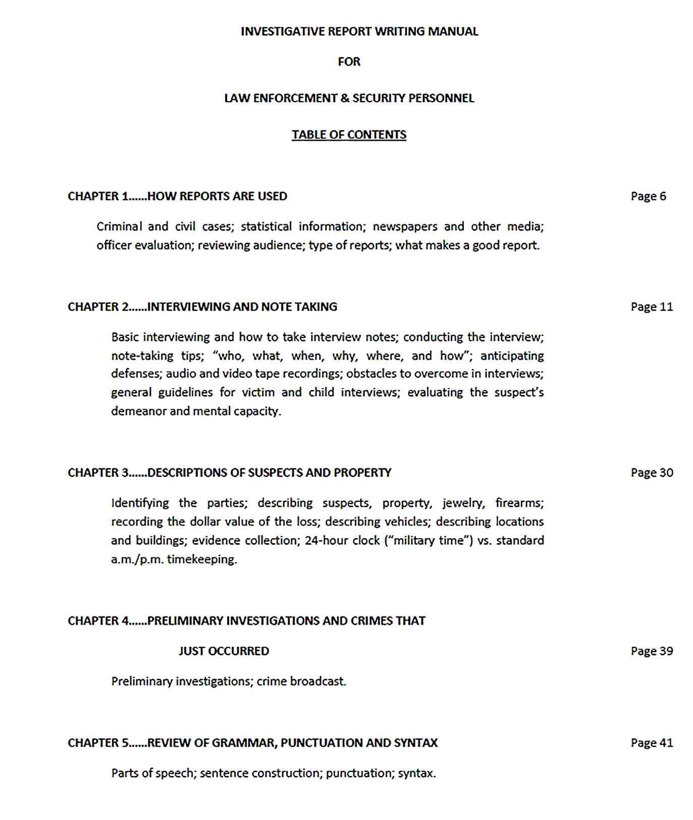 Sample Police Report Writing Template