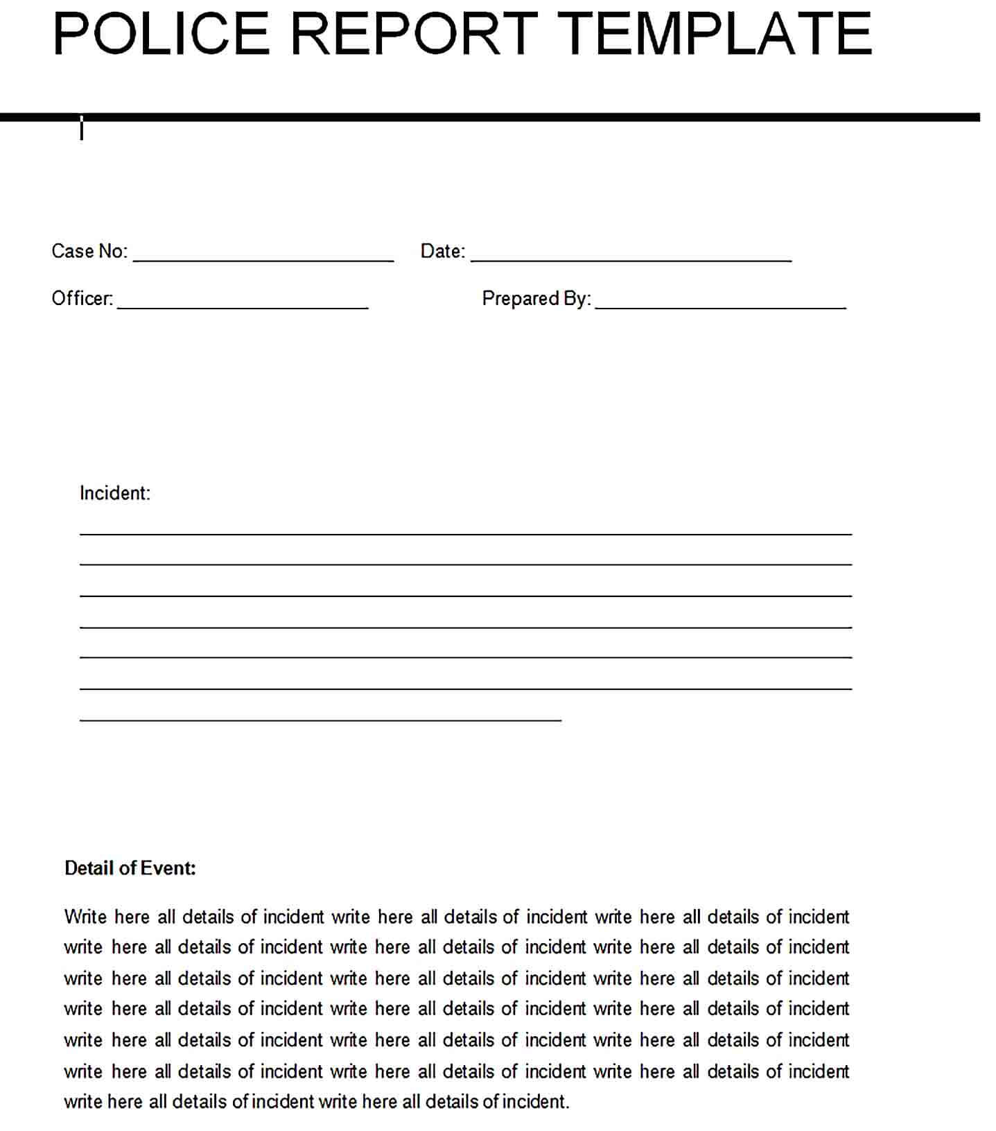 Sample blank police report template 1