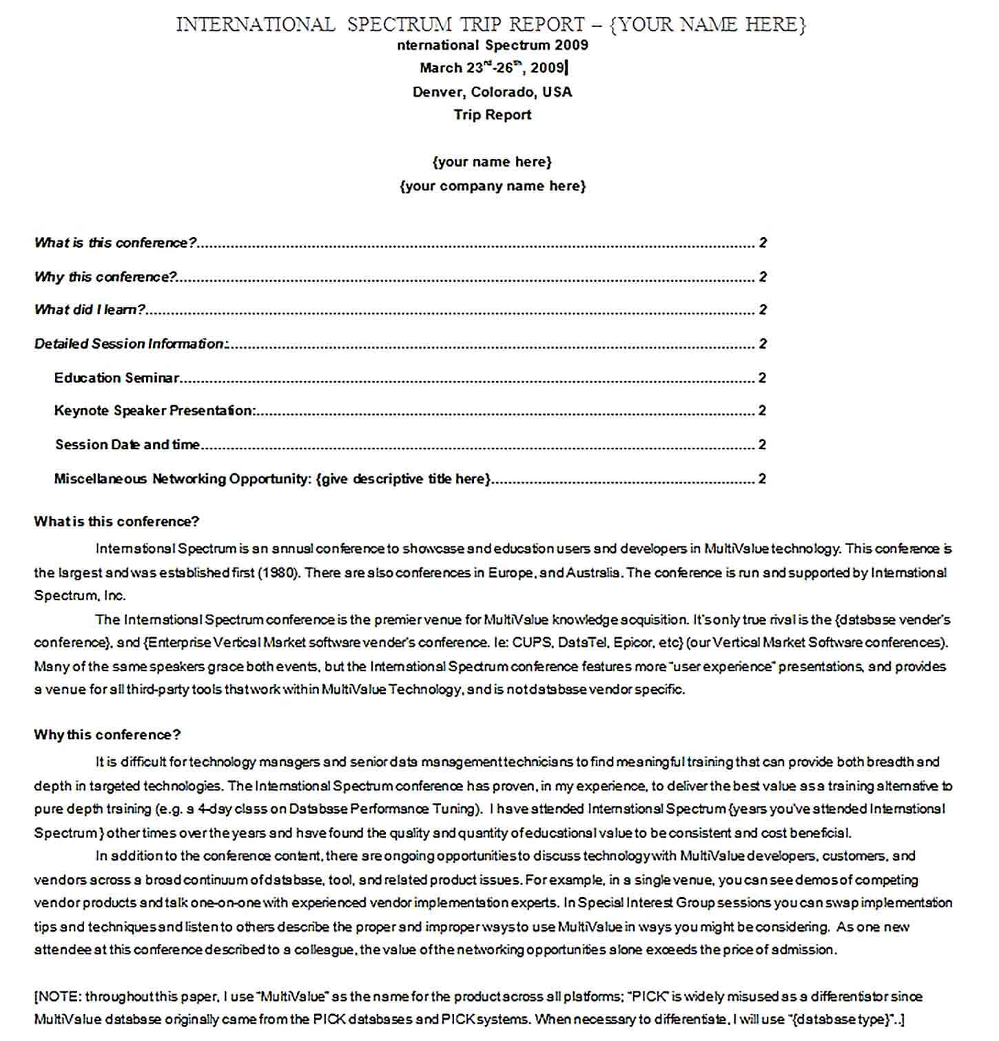 Sample Conference Trip Report Template PDF Format